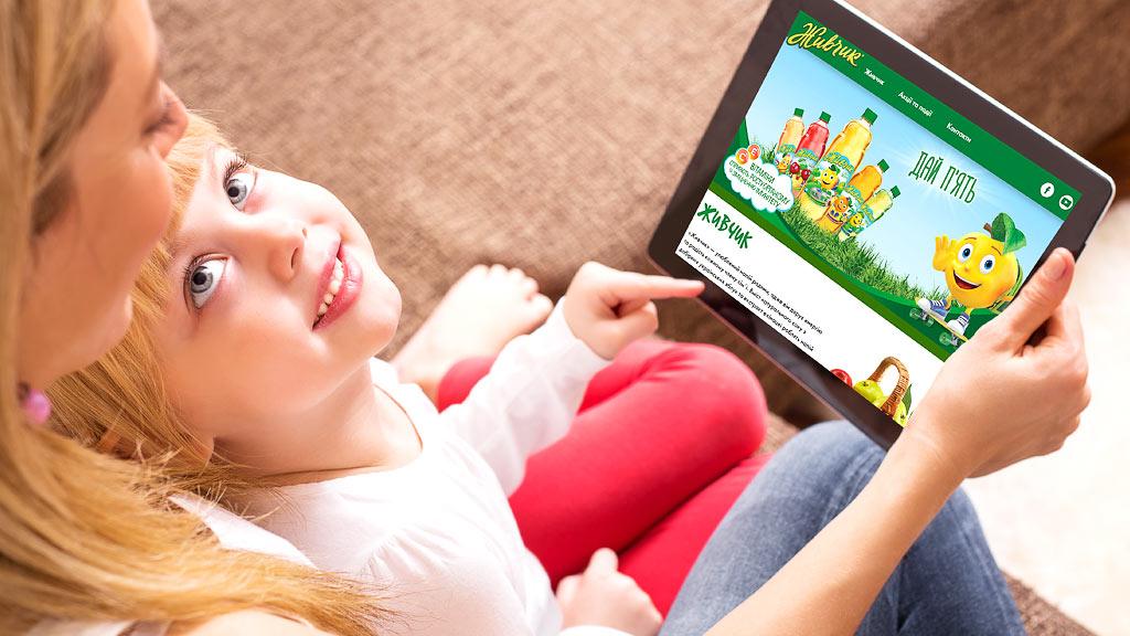 """Реклама ТМ """"Живчик"""" на планшете © Креативное агентство KENGURU"""